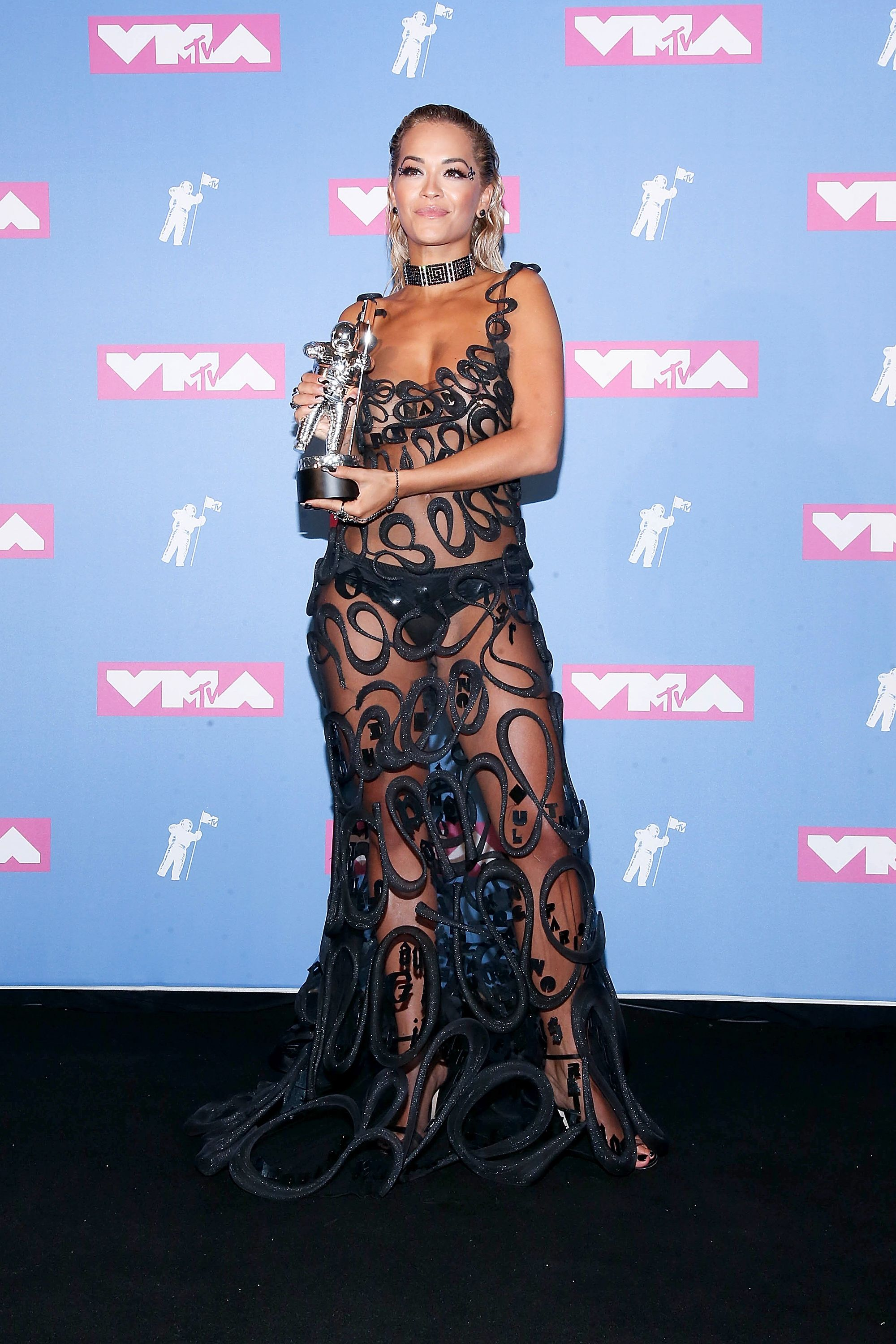 Rita Ora Ora also attended the MTV Video Music Awards that same night. She wore a swirly patterned dress from Fleur du Mal that left little to the imagination.