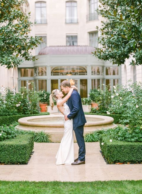 Photograph, Green, Backyard, Yellow, Bride, Wedding dress, Dress, Ceremony, Home, House,