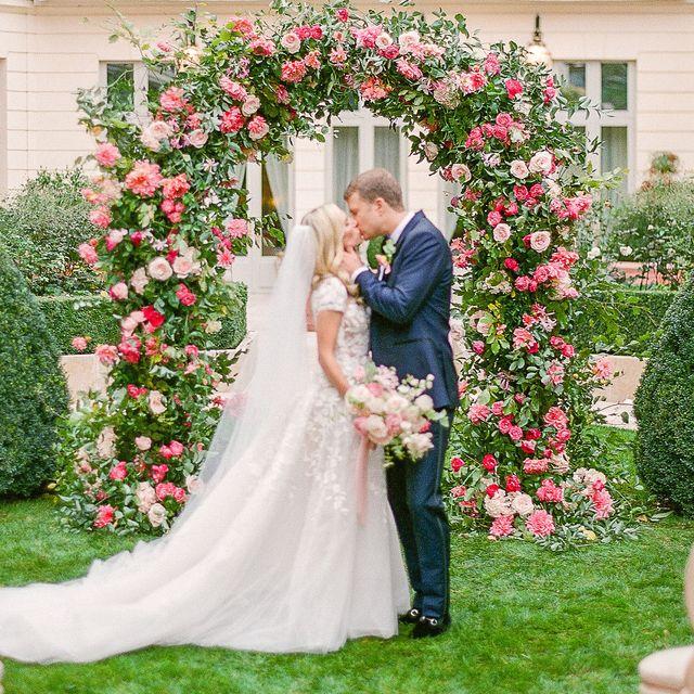 Photograph, Bride, Ceremony, Wedding dress, Pink, Floral design, Flower Arranging, Wedding, Dress, Marriage,