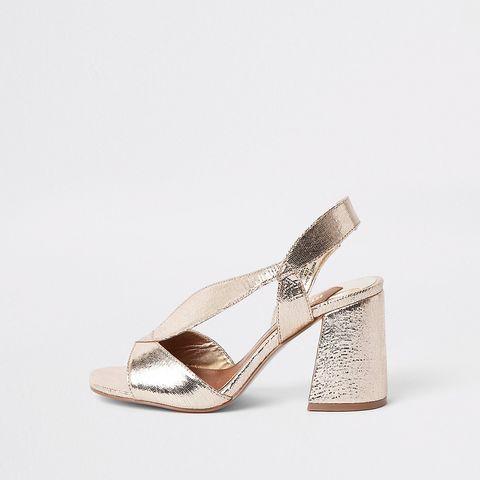 Footwear, Sandal, Shoe, High heels, Slingback, Beige, Metal, Wedge, Silver,