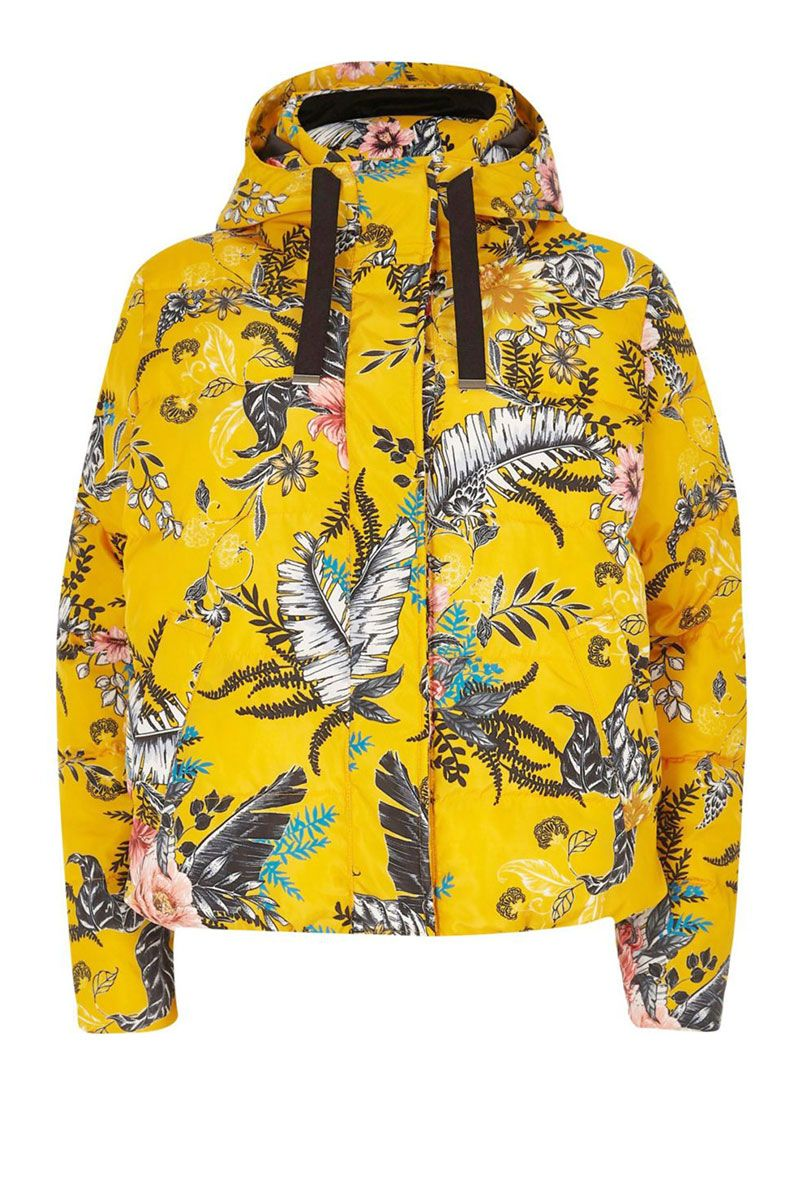 Floral puffer jacket - yellow floral puffer jacket