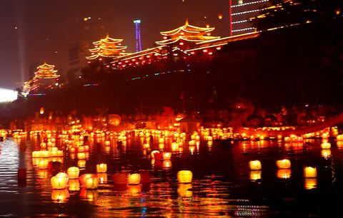 River Lanterns Lit To Celebrate The Ghost Festival In Guilin