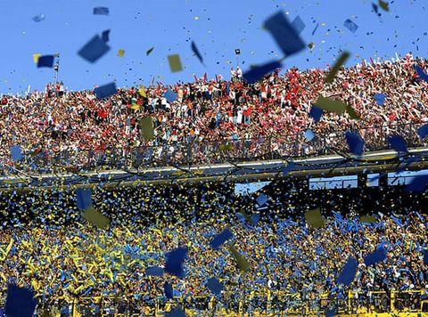 Crowd, Fan, People, Product, Audience, Stadium, Sport venue, Confetti, Architecture, Event,