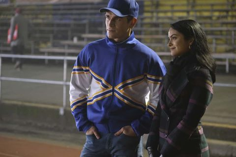 """riverdale    """"chapter eighty five destroyer""""    image number rvd508a0245r    pictured l   r kj apa as archie andrews and camila mendes as veronica lodge    photo bettina straussthe cw    © 2021 the cw network, llc all rights reserved"""