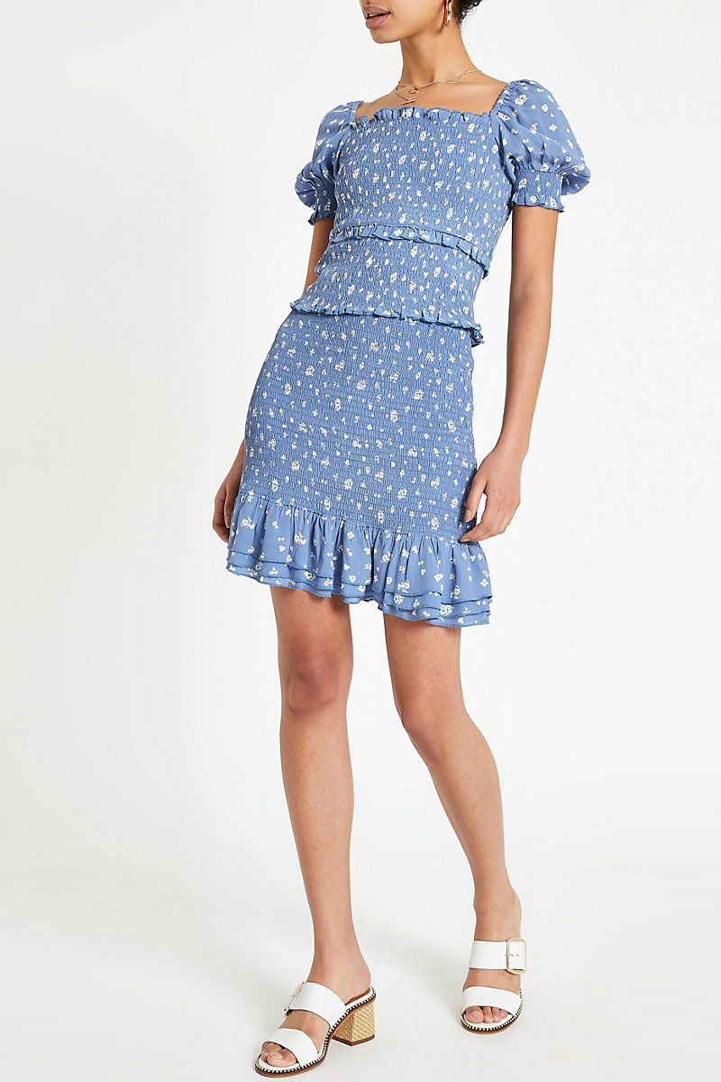 239867e68 River Island Floral Print Wrap Midi Skirt – DACC