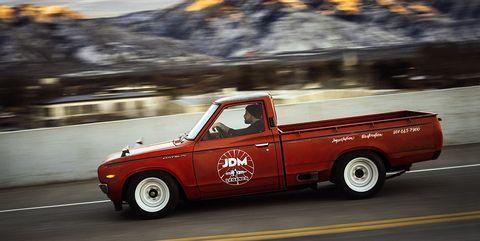 Land vehicle, Car, Vehicle, Pickup truck, Truck bed part, Truck, Automotive tire, Automotive exterior, Datsun truck,