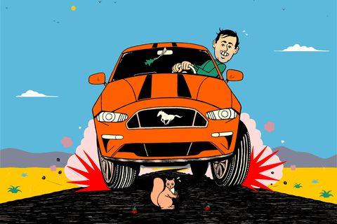 Land vehicle, Vehicle, Motor vehicle, Car, Yellow, Automotive design, Vehicle door, Cartoon, Landscape, Automotive exterior,