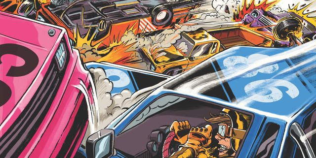 illustration, car crash at the race track