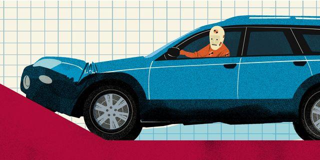 illustration, crash test dummy driving car up an incline