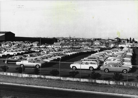 holden cars outside the assembly line at gmh pagewood today may 04, 1977 photo by antonin cermakfairfax media via getty images