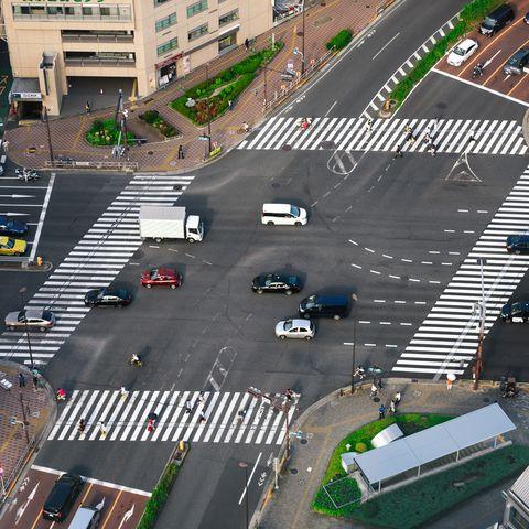 Road cross aerial view