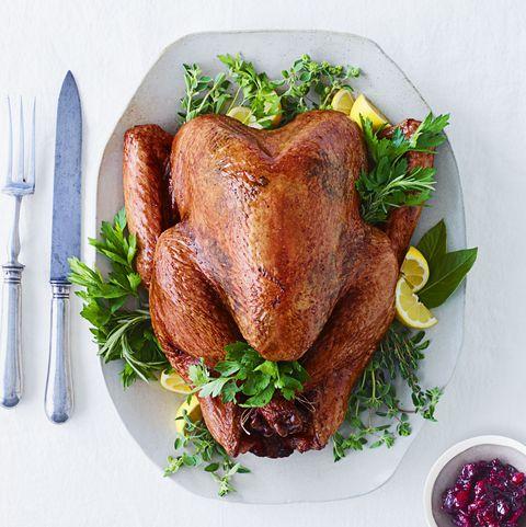 roast turkey stuffed with herbs and lemon