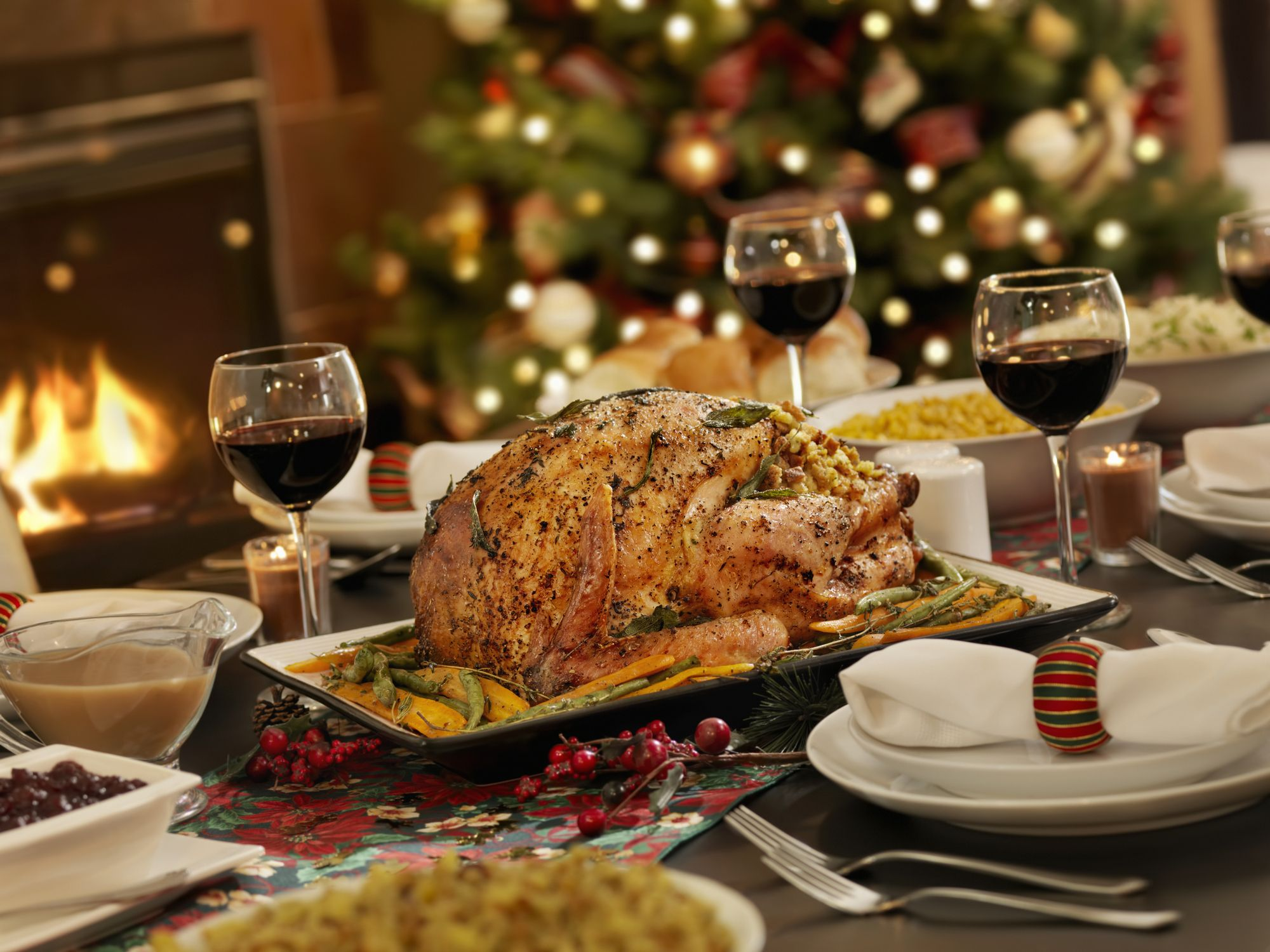 Roast turkey with boozy prune and rye bread stuffing and gravy