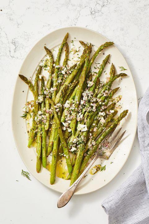 roasted asparagus salad with feta vinaigrette