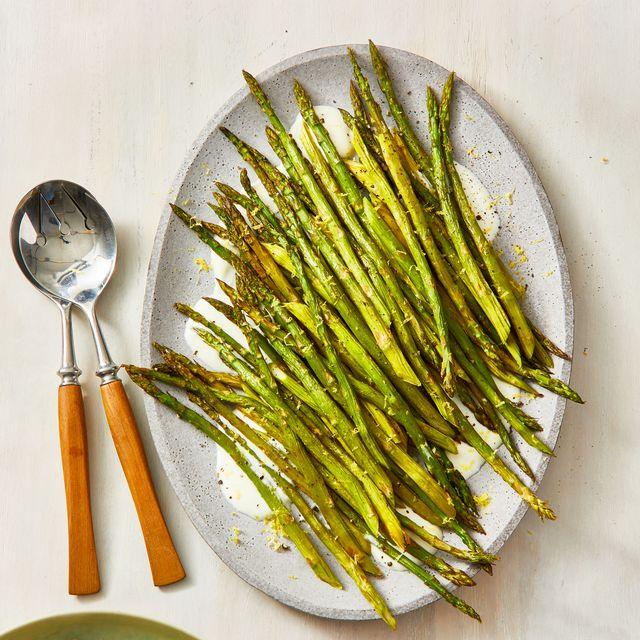 roasted asparagus with creamy feta