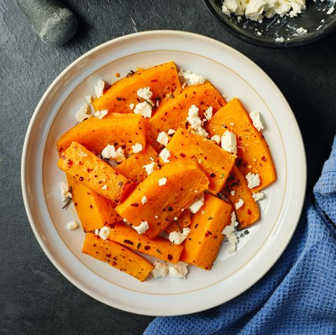 roasted butternut squash with feta cheese