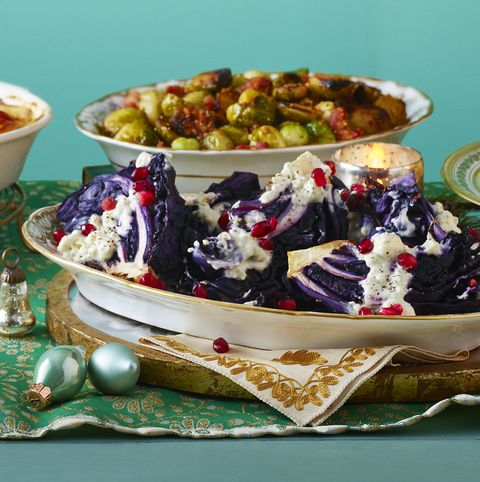 roasted cabbage with blue cheese dressing