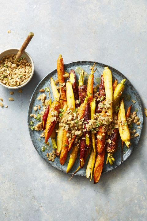 roasted carrots with cumin thyme granola