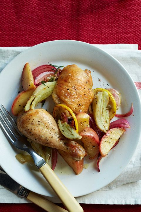 roasted chicken, apples and onions