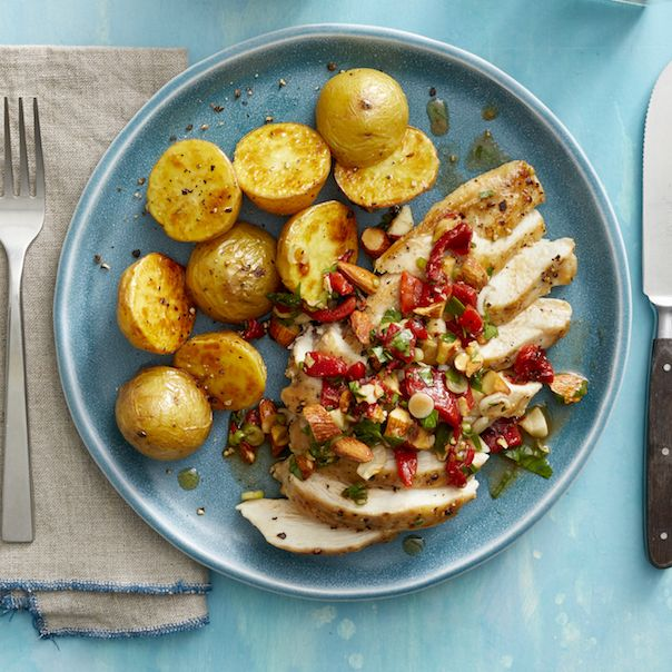 Roasted Chicken and Garlic Potatoes with Red Pepper Relish