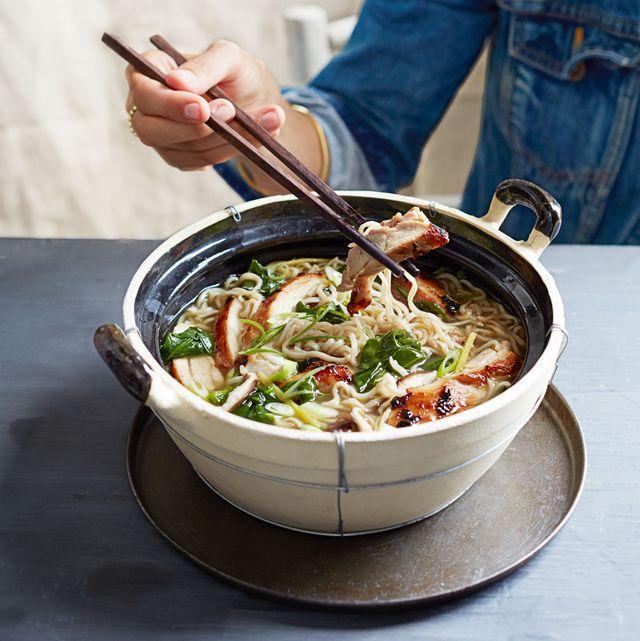 roasted chicken and mushroom ramen bowl