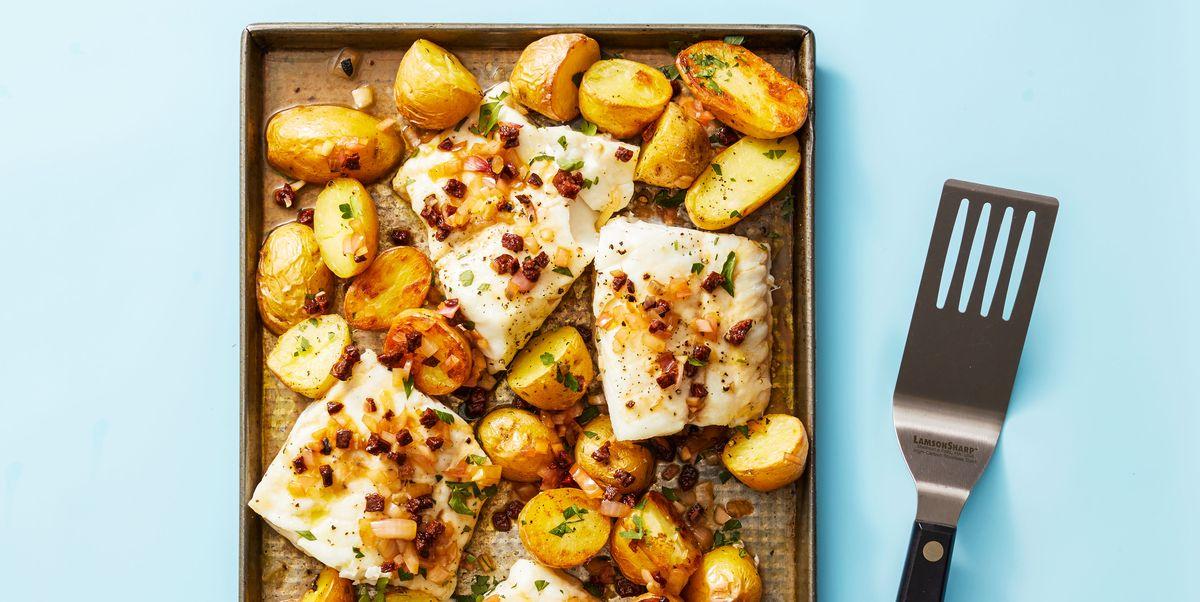 Roasted Cod and Potatoes With Chorizo Vinaigrette