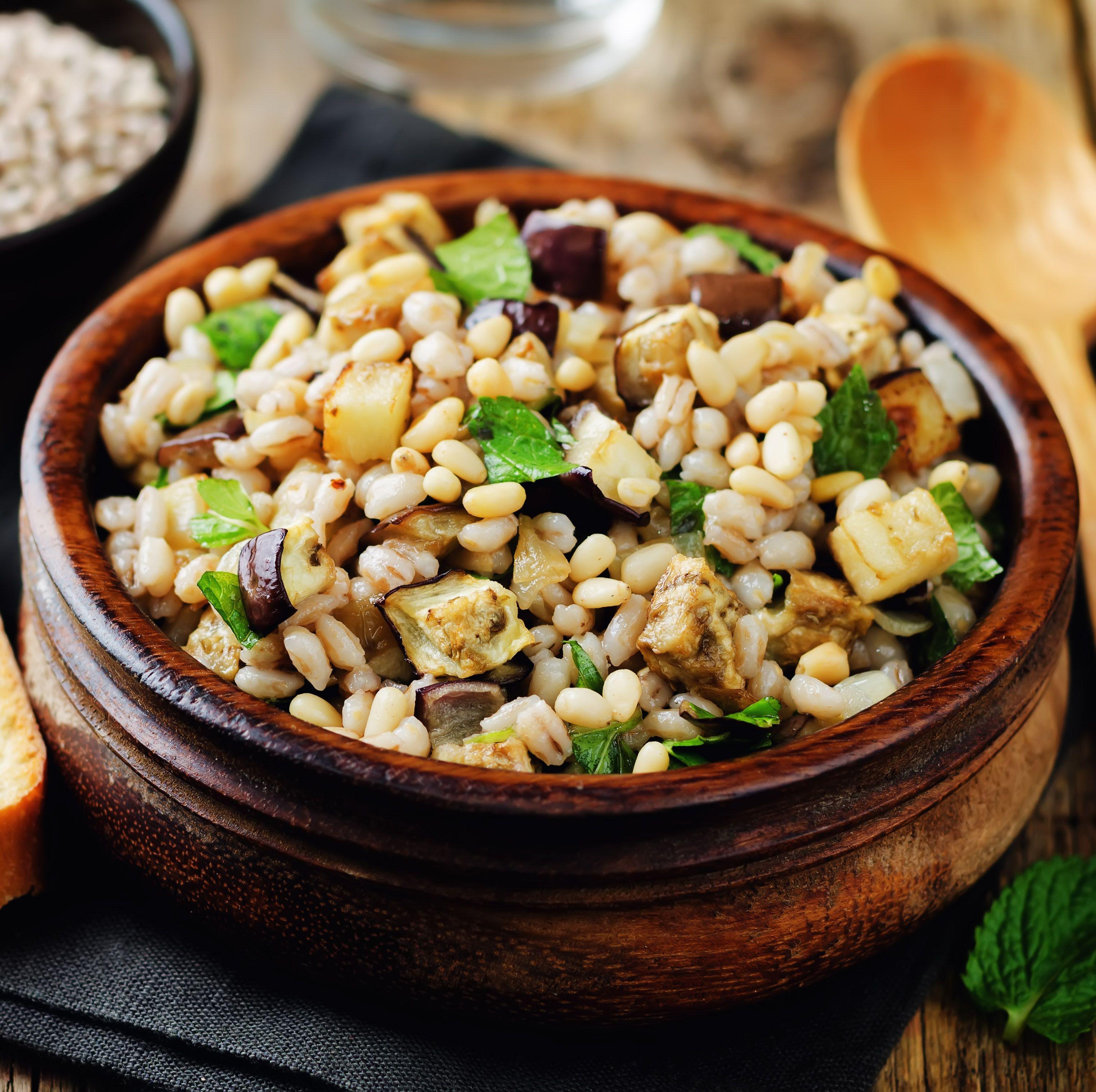 Roasted eggplant pine nuts mint barley salad