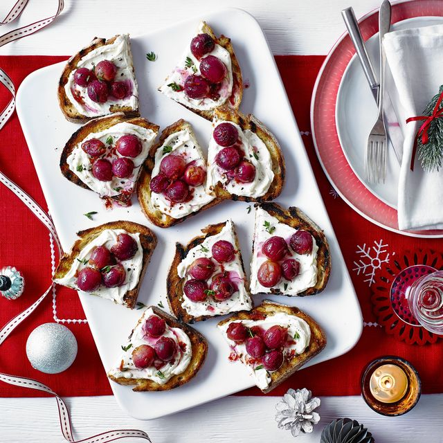 best canape recipes roasted grape and goat's cheese toasts