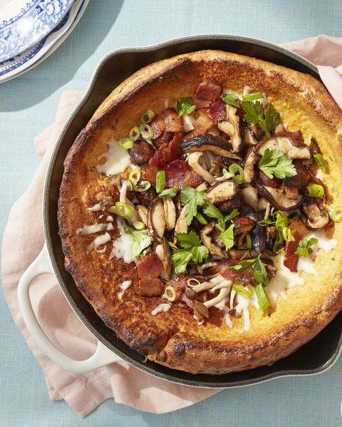roasted mushroom dutch baby in pan