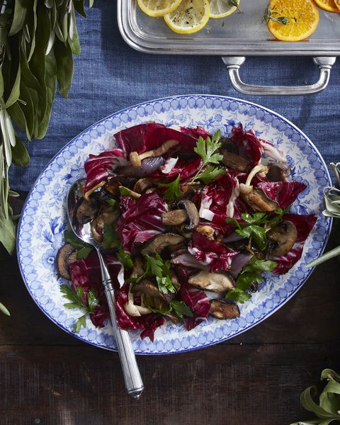 roasted mushrooms and radicchio