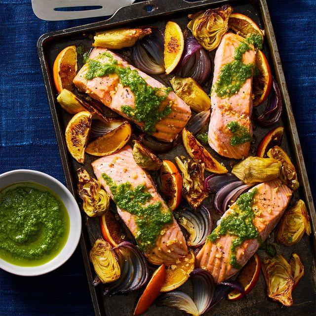 roasted salmon, artichokes, red onion recipe