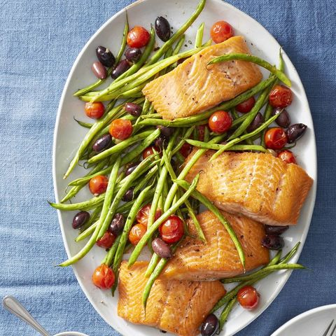 roasted salmon with green beans and tomatoes   good luck foods