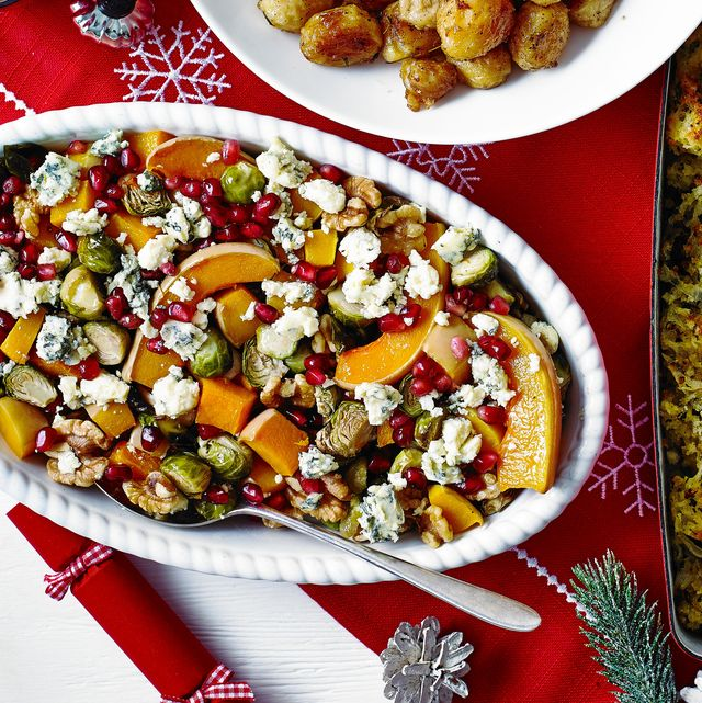 roasted squash and sprouts with blue cheese
