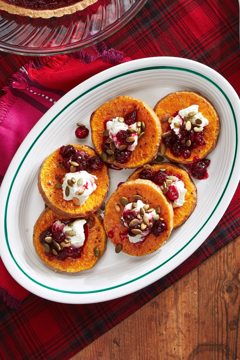 roasted squash with goat cheese and poached cranberries