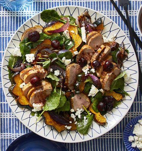 Roasted Squash, Pork, and Kale Salad With Cherries