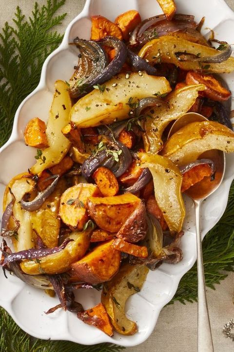 Roasted Sweet Potato, Pear, and Onion - Vegan Thanksgiving Recipes