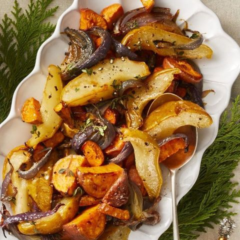 vegan thanksgiving   roasted sweet potatoes and pears