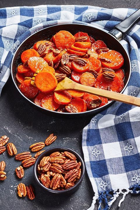 maple glazed sweet potatoes with pecans