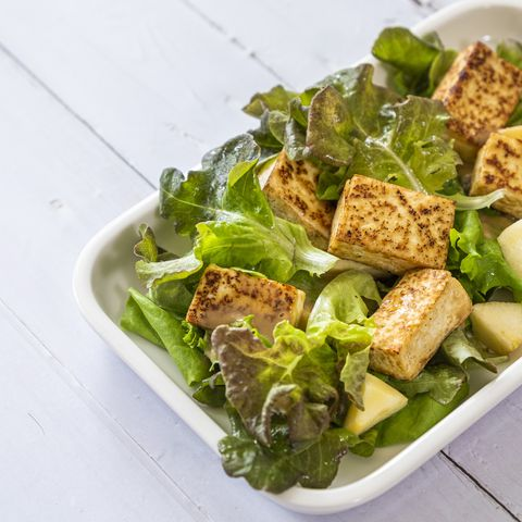 roasted tofu salad with cabbage and japanese style sesame sauce, vegan food