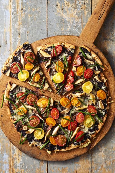 Roasted Tomato and Chive Pizza - Healthy Super Bowl Recipes