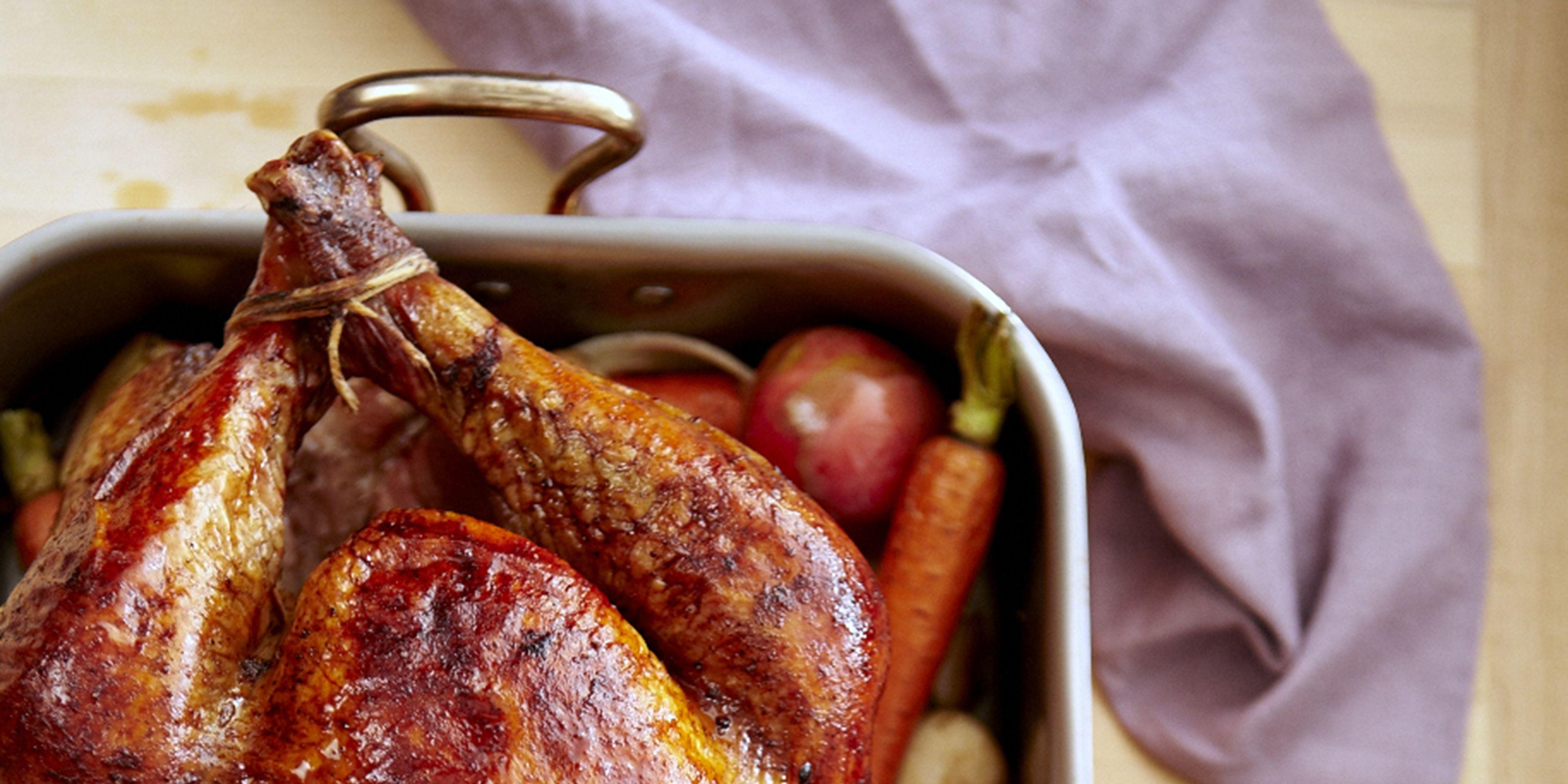 roasted turkey onto of vegetables