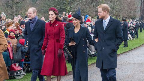 Royal Family Christmas.Prince Harry Meghan Markle Prince William And Kate