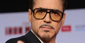 Robert Downey Jr at Iron Man 3 premiere in April 2013