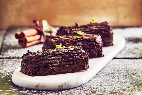 Roberts' homemade chicken liver pâté -filled yule logs