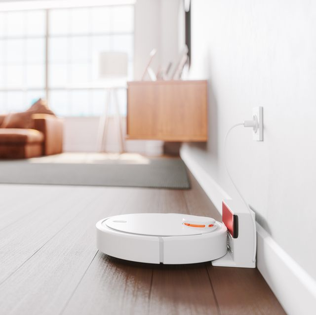 robot vacuum cleaner in a modern living room