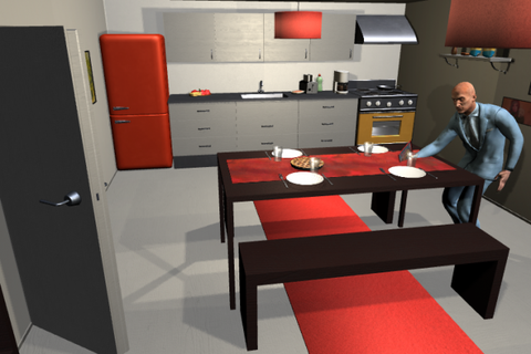 Furniture, Room, Red, Table, Interior design, Desk, Kitchen, Dining room, Chair, Material property,