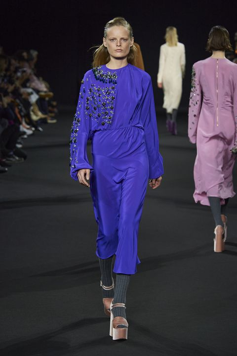 Fashion, Fashion show, Fashion model, Runway, Clothing, Event, Public event, Fashion design, Haute couture, Electric blue,