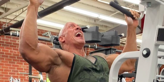 Watch The Rock Complete a Vicious Set of Lat Pulldowns in His Home Gym - Men's Health
