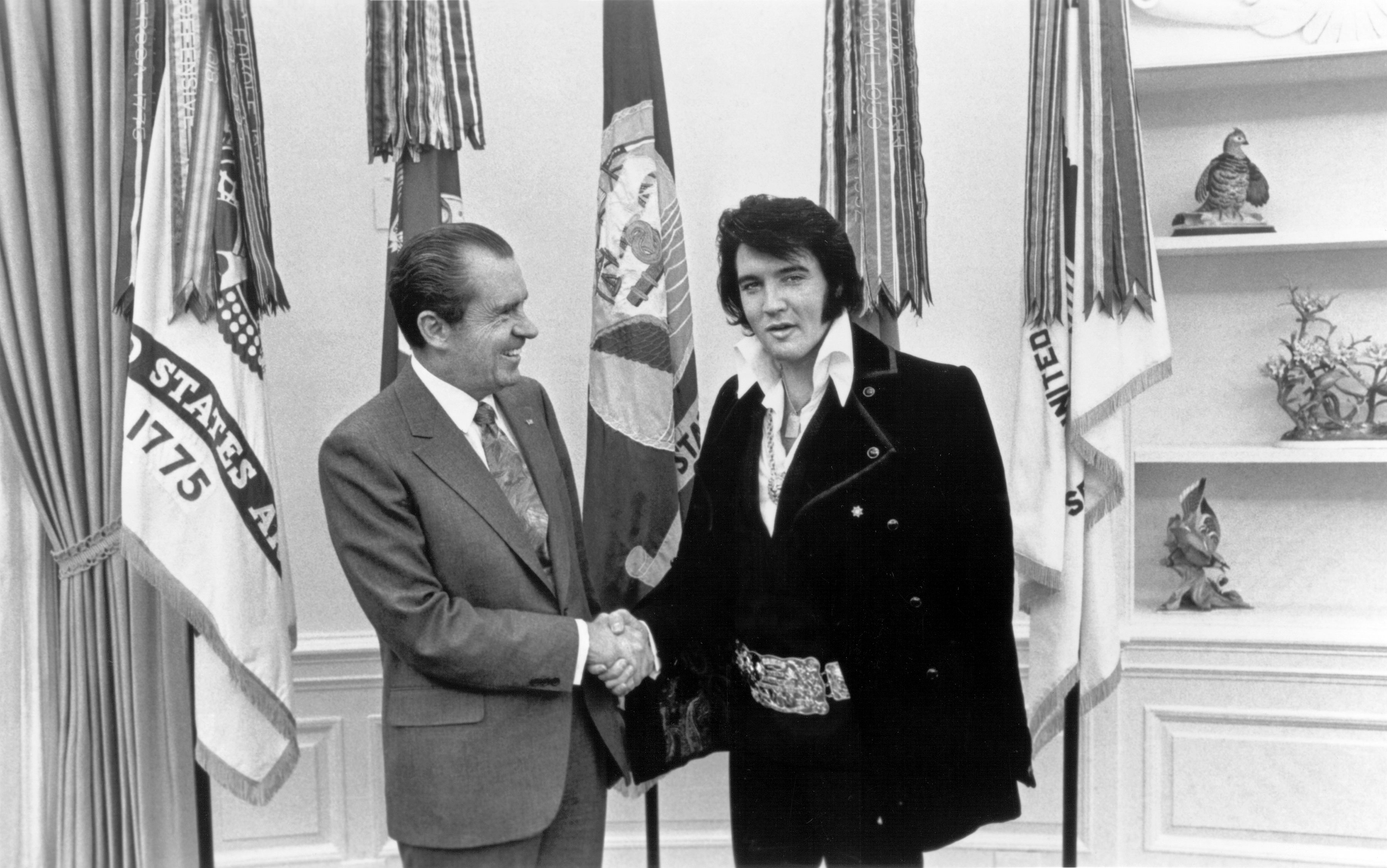 Rock and roll musician Elvis Presley visits President Richard Nixon...
