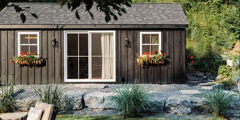 Shed, House, Building, Home, Property, Cottage, Garden buildings, Yard, Siding, Landscaping,